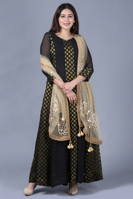 Black Gold Georgette Banarsi Floor Length Kurti with Gold Mirror Paisley Net Dupatta