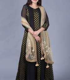 Black Gold Georgette Banarsi Floor Length Kurti with Gold Mirror Paisley Net Dupatta