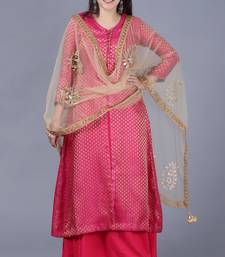 Pink Brocade Double Layered Jacket Style Kurti with Gold Mirror Paisley Dupatta