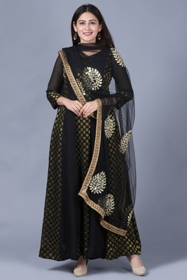 Black Gold Georgette Banarsi Floor Length Kurti with Black Mirror Work Paisley Net Dupatta
