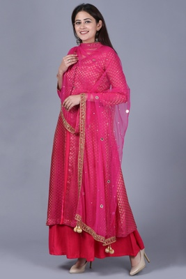 Pink Brocade Double Layered Jacket Style Kurti with Pink Mirror Stone Net Dupatta