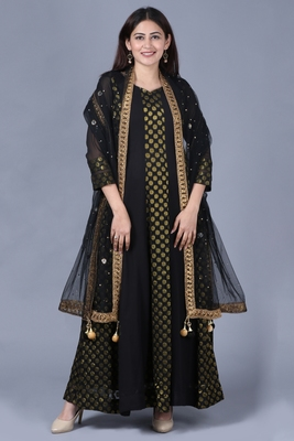 Black Gold Georgette Banarsi Floor Length Kurti with Black Mirror Stone Dupatta