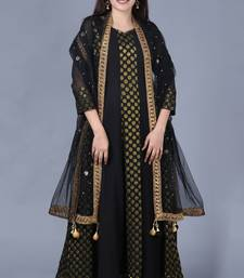 Black Gold Georgette Banarsi Floor Length Kurti with Black Mirror Stone Dupatta