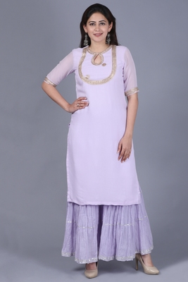 Lavender Georgette Short Kurti with Gathered Sharara