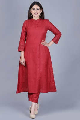 Classic Maroon Flared Kurti with Straight Pants