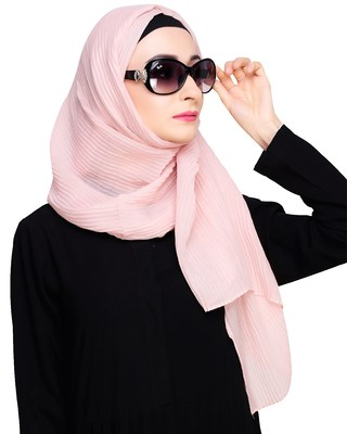 Pink plain cotton hijab