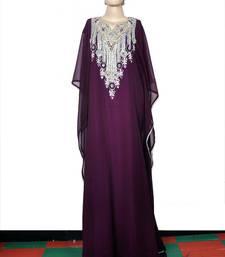 Dark purple embroidered georgette islamic kaftan