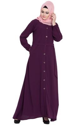 Purple front open girls stylish abaya