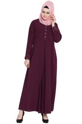 Wine front open girls stylish abaya