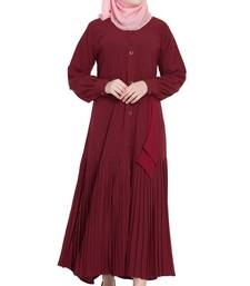 Maroon front open girls stylish abaya