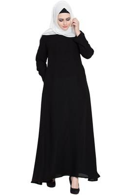 Black a- line simple abaya
