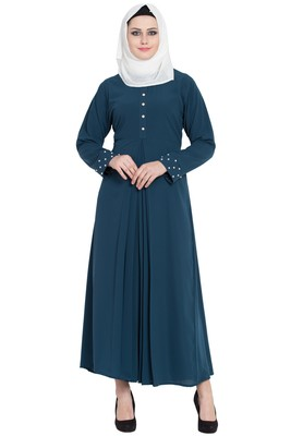 Teal green stylish abaya for women