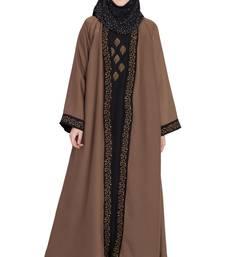 Golden & black nida shrugg style stylish abaya