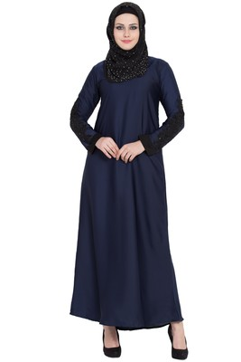 Navy blue nida sleeves embroidered abaya