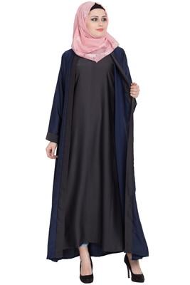 Navy blue & dark grey nida shrugg abaya