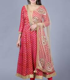 Pink red georgette Banarasi anarkali with leggings and gold mirror paisley net dupatta