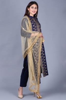 Blue rayon foil printed collared salwar with straight pants and gold stone net dupatta