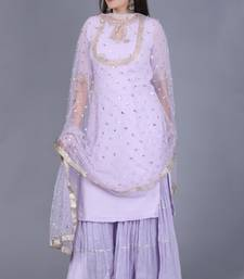 Lavender georgette short salwar with gathered sharara and sequence pearl dupatta