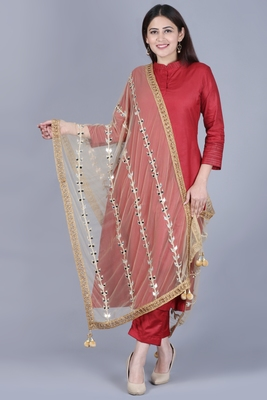maroon flared salwar with straight pants and net mirror trails dupatta