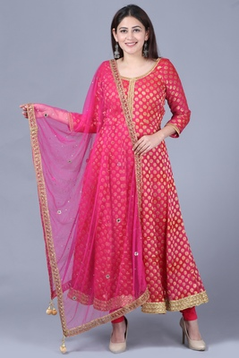 Pink red georgette Banarasi anarkali with leggings and pink mirror stone net dupatta
