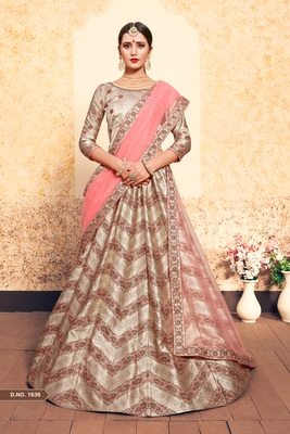 Brown Embroidered Satin Unstitched Lehenga With Dupatta