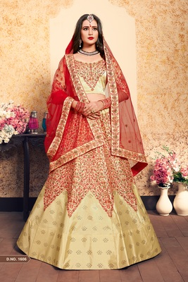Beige Embroidered Satin Unstitched Lehenga With Dupatta