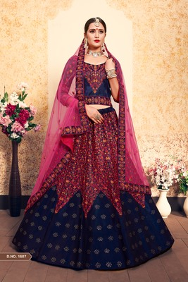 Royal Blue Embroidered Satin Unstitched Lehenga With Dupatta