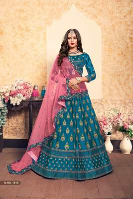 Sky Blue Embroidered Satin Unstitched Lehenga With Dupatta