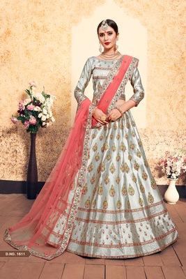 Grey Embroidered Satin Unstitched Lehenga With Dupatta