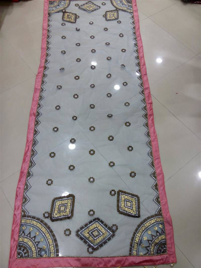 Buy Pink And Blue Color Heavy Thread And Jari Work Net