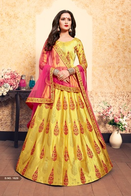 Yellow Embroidered Satin Unstitched Lehenga With Dupatta