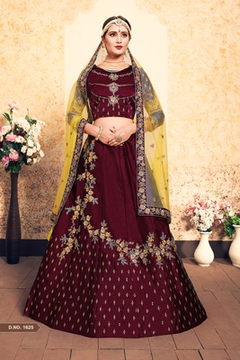 Maroon Embroidered Satin Unstitched Lehenga With Dupatta