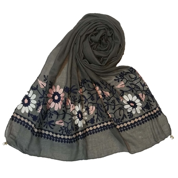 Party Wear Collection - Emboidered Flower Premium Cotton Stole