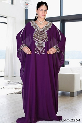 Purple embroidered georgette islamic kaftan