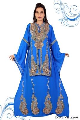 Sky blue embroidered georgette islamic kaftan