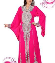 Rani pink embroidered georgette islamic kaftan