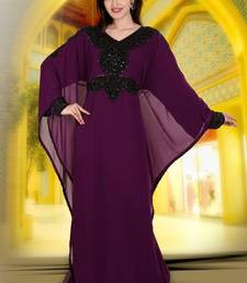 Wine embroidered georgette islamic kaftan