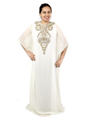 White embroidered georgette islamic kaftan