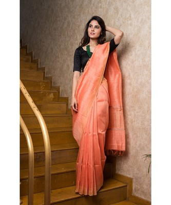 peach hand woven Linen saree with blouse