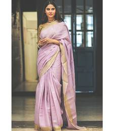 Lavender hand woven Linen saree with blouse