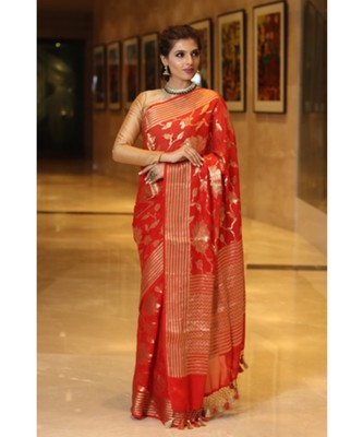 Red  hand woven Chiffon saree with blouse