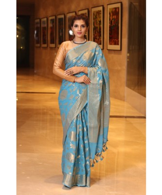 Blue  hand woven Chiffon saree with blouse