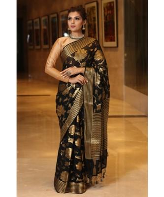 Black hand woven Chiffon saree with blouse