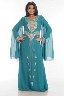 Turquoise embroidered georgette islamic kaftan
