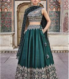 Green embroidered silk semi stitched lehenga with dupatta