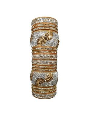 Prosper Hyderabadi Bridal Joda, Golden Silver Party Wear Bangle Set For Women And Girls 14 Pieces