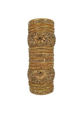 Prosper Hyderabadi Bridal Joda, Golden Party Wear Bangle Set For Women And Girls 14 Pieces