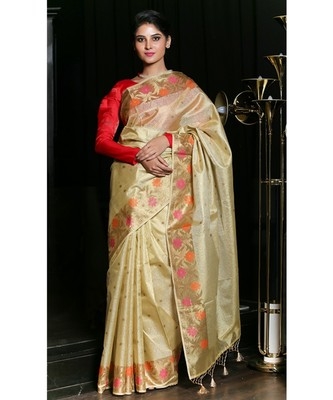 Yellow hand woven Tissue saree with blouse