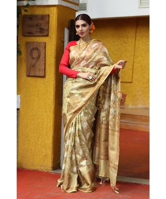 Golden hand woven Tissue saree with blouse
