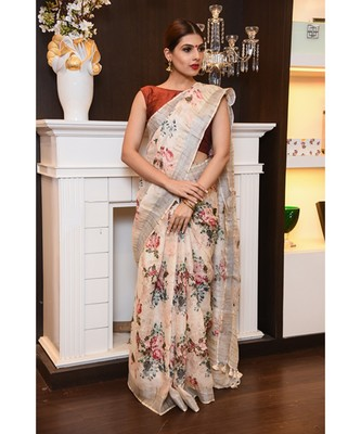 Multicolor hand woven Linen saree with blouse